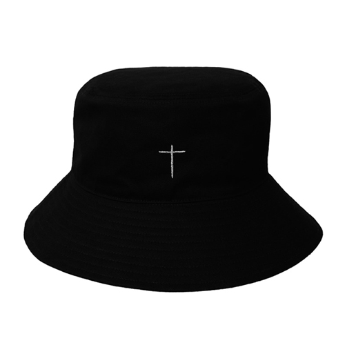 [하르하셈] [UNISEX] Silver Cross Bucket Hat BLACK