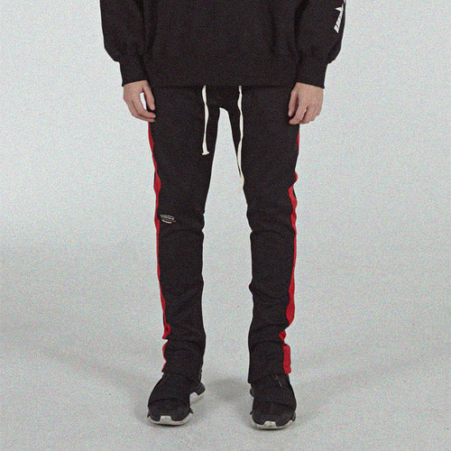 [BLEDITION_블레디션] SIDE ZIPPER TRACK PANTS RED