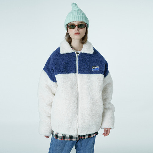 앤커버 NCOVER Square patch fleece jacket-ivory